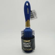 """Conair Velvet Touch Round Brush w/ Gold Highlights 9"""" Double Nylon Bristles BLUE - $3.92"""