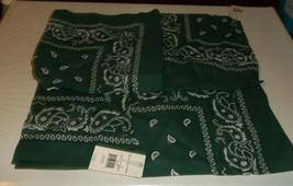 Traditional Paisley Bandanas dark Green 21 'X 21' LOT of 4 - $4.94
