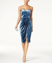 JAX Strapless Crushed Velvet Sheath Dress Blue Size 6 $158 - $23.74