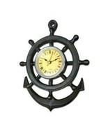 Ship Wheel Design Wall Clock - Cast Iron Nautical - $42.56
