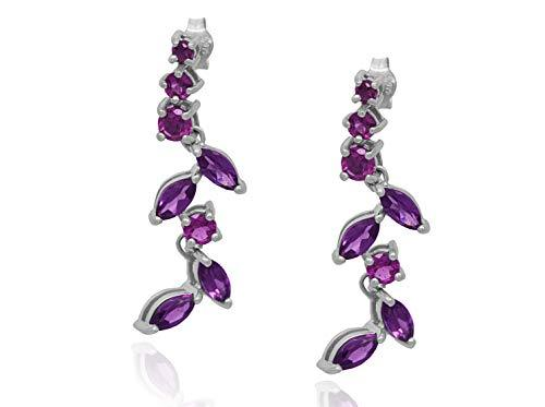 AFJewels 14k White Gold Genuine Amethyst and Tourmaline Dangling Earrings