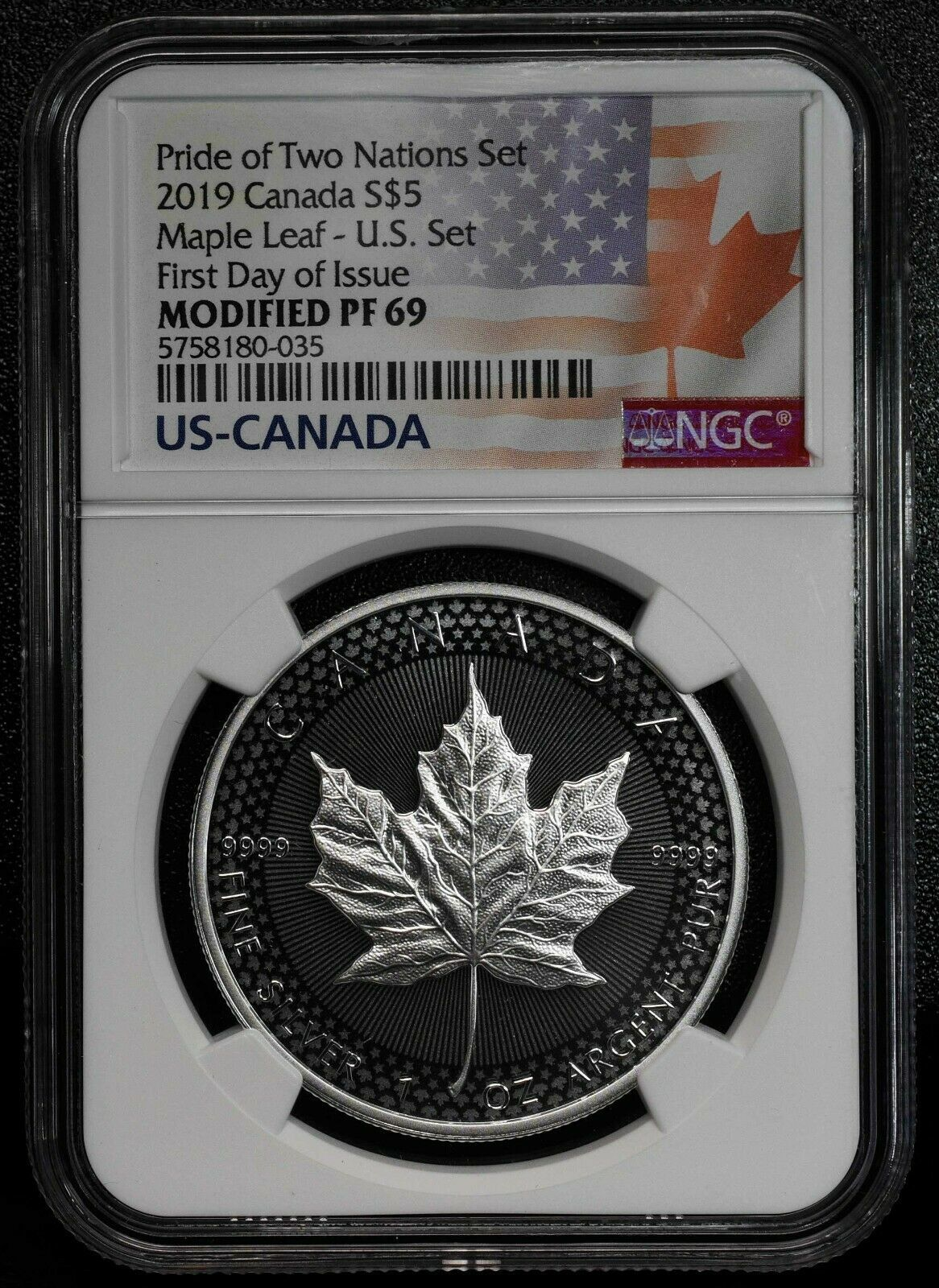 2019 Modified Proof Silver Maple Coin NGC PF69 Pride of Two Nations FDOI SKU C56