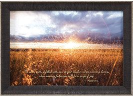 Dicksons Earth Filled With Awe Psalm 65:8 Sunrise Field 14 X 20 Wood Fra... - $114.70
