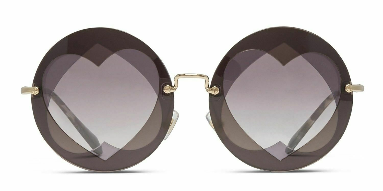 NEW MIU MIU Women's 01SS Layered Double Heart Round Sunglasses Violet/Brown