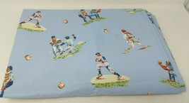 Pottery Barn Kids Twin Flat Sheet Baseball Player Batter Pitcher Out Blu... - $14.84