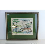 Thomas Meek Jr 1950s Quiet Afternoon Original Watercolor on Lithograph  - $112.71