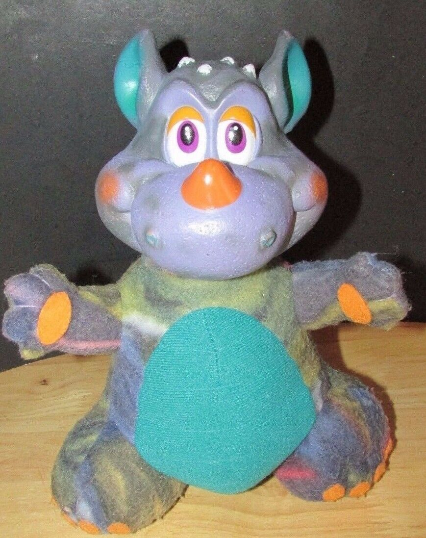 Primary image for Russ berrie dragon monster plush vinyl head purple teal vintage