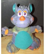 Russ berrie dragon monster plush vinyl head purple teal vintage - $17.81
