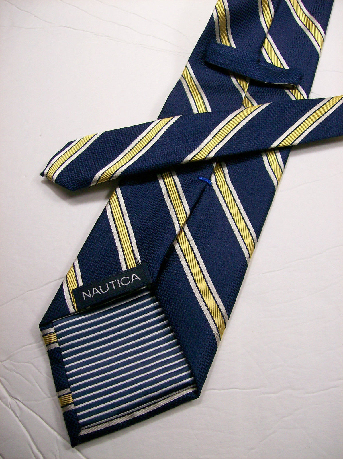 Nautica Mens Mini Gingham Silk Neck Tie Yellow