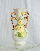 Vintage Hand Painted Yellow Roses Double Gilt Handled Porcelain Vase - $26.77