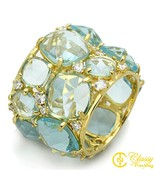 Classy Not Trashy Size 8 Women's Gold Toned Ring with Faux Aquamarine Gl... - $60.29