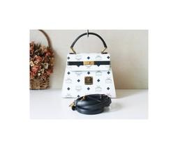 MCM Visetos White Navy Mini Kelly Tote handbag authentic vintage bag - $365.00