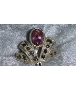 Vintage 9.25  Marcasite pink ice ston sterling silver ring Sunning Size ... - $73.00