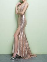 ROSE GOLD Sequin Maxi Dress Mermaid Slit Maxi Sequin Dress Plus Size Sequin Gown image 5