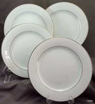 "Noritake Derry Derby 5931 Salad Plates Set of 4 White Platinum Rim Verge 8.25"" - $18.28"