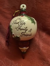 Ceramic Bisque Hand-Painted The Best Gift is Family & Friends Christmas Ornament image 1