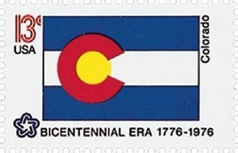 1976 13c Colorado State Flag, Bicentennial Era Scott 1670 Mint F/VF NH - $1.49