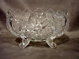 Imperlux Hand Cut Lead Crystal Poland 4 Footed Bowl Dish Saw Edge Elegan... - $11.90