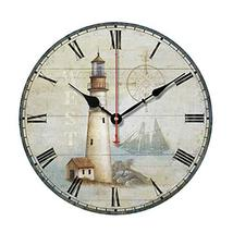 "George Jimmy 10"" Retro Unique Lighthouse Wall Clock Decor Silence Hangin... - $48.33"