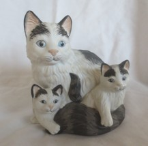 Mama Cat & 2 Kittens Porcelain Figurine by HOMCO #1412 - $17.81