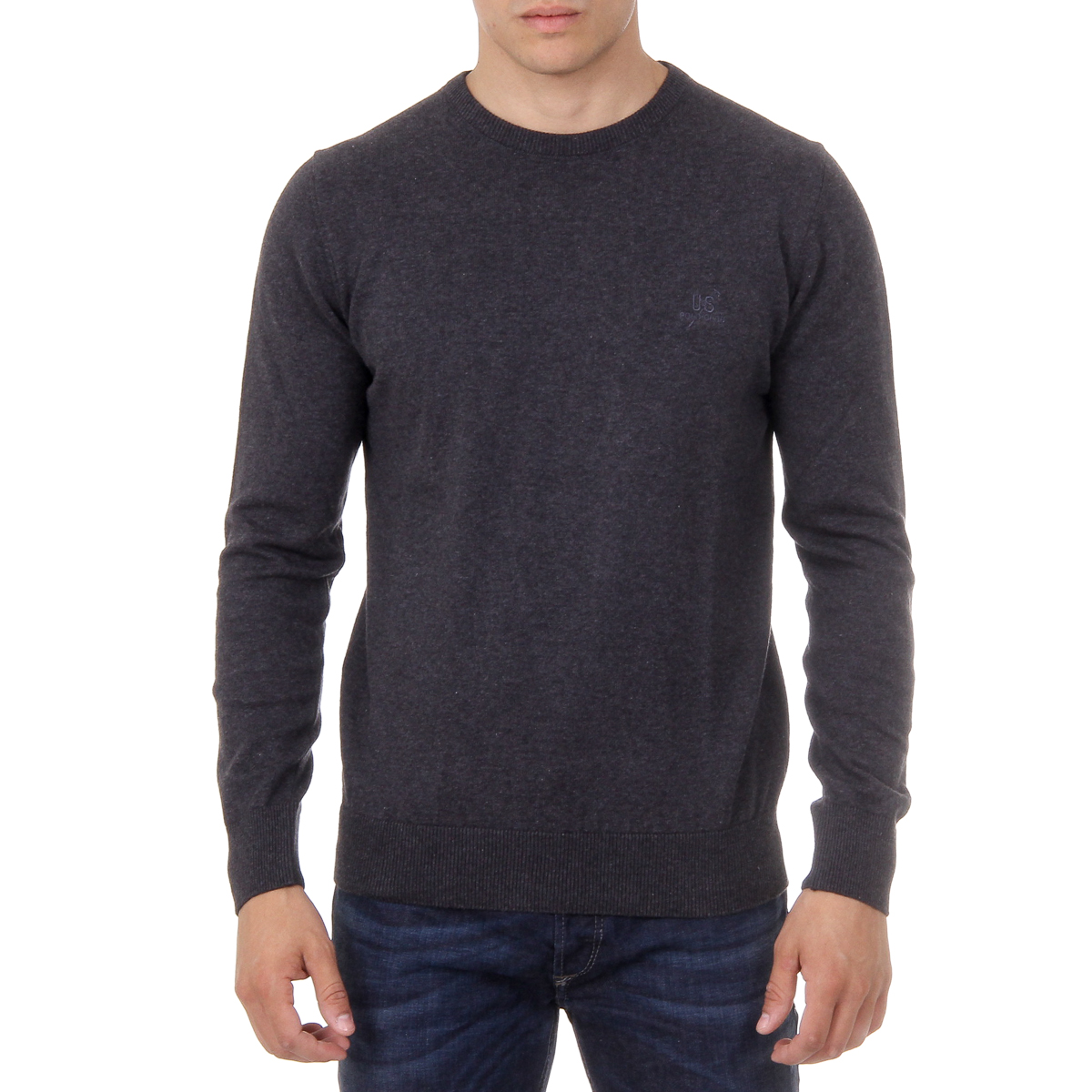 Primary image for Ufford & Suffolk Polo Club Mens Sweater Long Sleeves Round Neck PULLRUS100 ANTHR