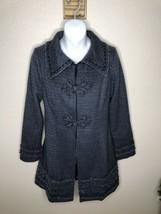 NICK & MO Anthropologie Womens Blue Tweed Wool Blend Coat midi coat JAck... - $37.62