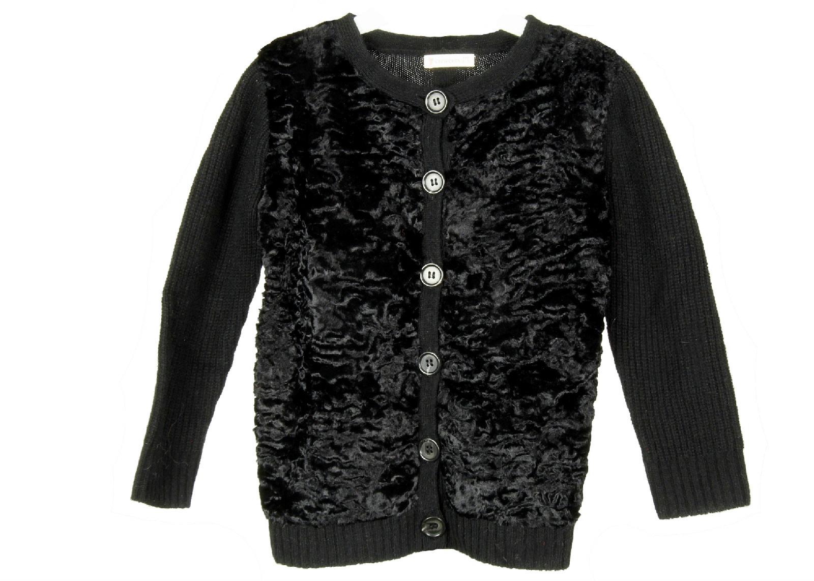 J Crew Kids Crewcuts Fuzzy Black Sweater Cardigan Sz 4/5 Black - $27.59