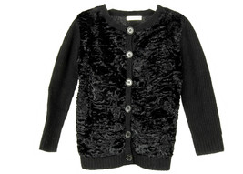J Crew Kids Crewcuts Fuzzy Black Sweater Cardigan Sz 4/5 Black - $27.59