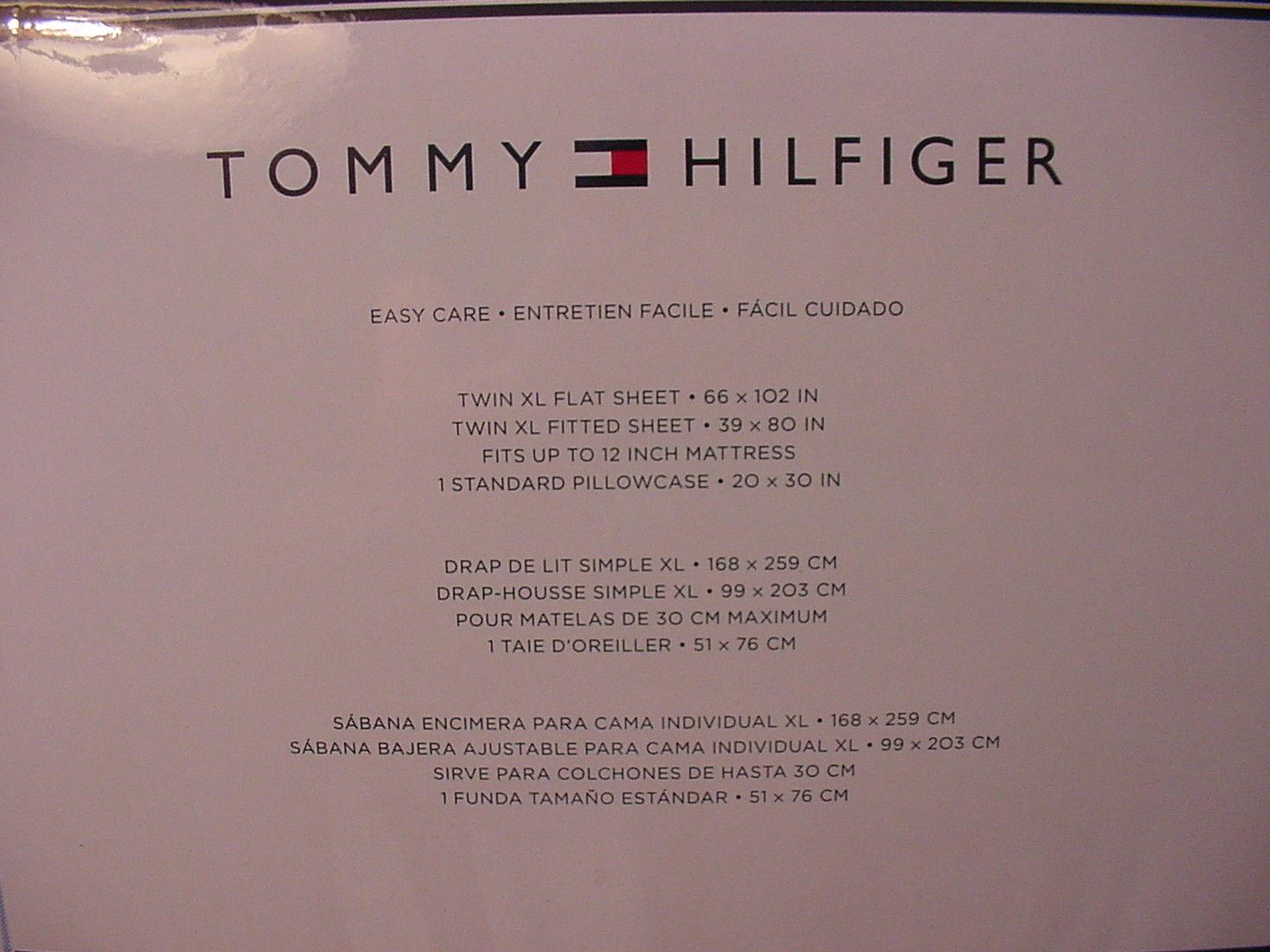 Tommy Hilfiger Ithaca Blue White Ocford Stripes Sheet Set Twin XL