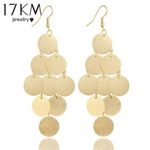 17KM® Fashion Elegant Metal Round Long Drop Earrings Jewelry Multi Layer... - $2.85