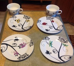 PAI Set of 4 Dessert Luncheon Plates Dishes And 3 Cups With Garden Designs - $48.15
