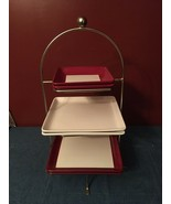 Pampered Chef Simple Additions Square Plate Three Tier Metal Stand 6 Plates - $74.95
