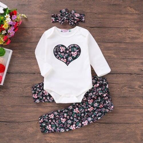 Casual Clothes 3PCS Newborn Baby Girl Clothes Sets Top Romper Floral Pants Headb image 2