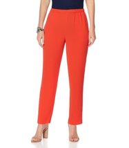 Vince Camuto Crepe Slim-Leg Ankle Pant in Red Hot, XS - £23.54 GBP
