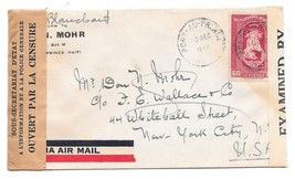 Haiti 1942 Dual Censor Airmail Cover Port au Prince to US Sc C17 Examiner 1925 - $6.69