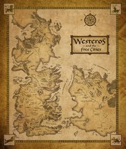 Game of Thrones seven kingdoms map Fabric Art Cloth Poster 20x28 - $9.89