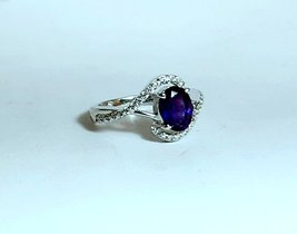 925 Sterling Silver Natural Amethyst And Cz Gemstone Artistic Design Handmade Wo image 2