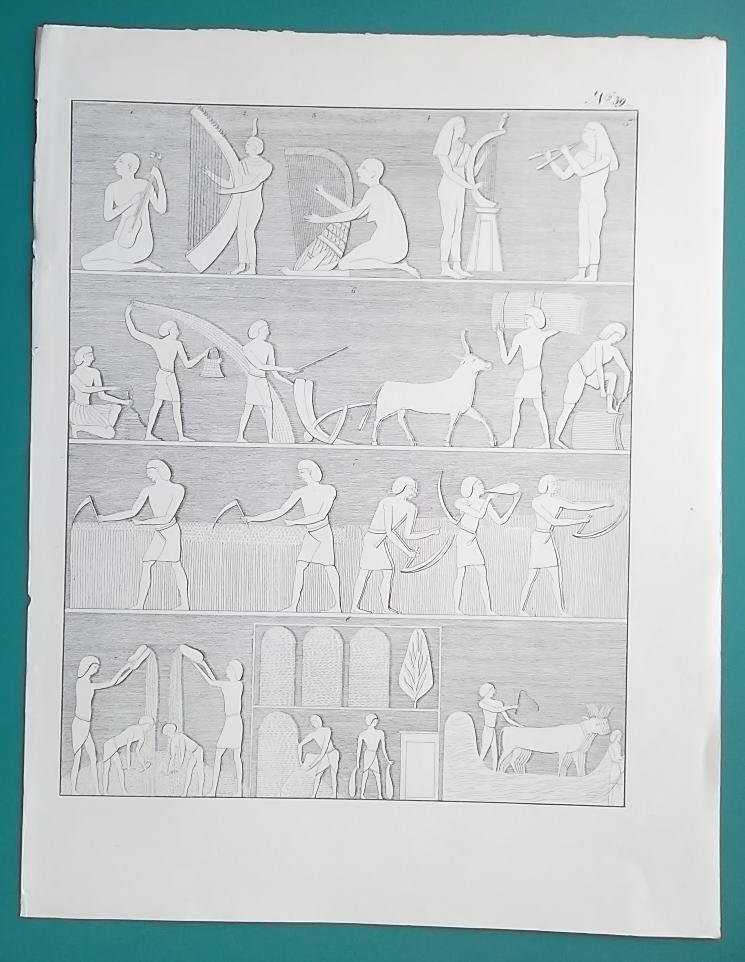 EGYPT Scenes from Life Thebes Reliefs Music Farmers Harvest - 1828 Antique Print