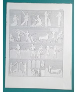 EGYPT Scenes from Life Thebes Reliefs Music Farmers Harvest - 1828 Antiq... - $14.40