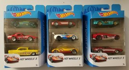 Lot of 9 Mattel Hot Wheels 3 Die Cast Toy Cars K5904 3 Packs of 3 - $14.84