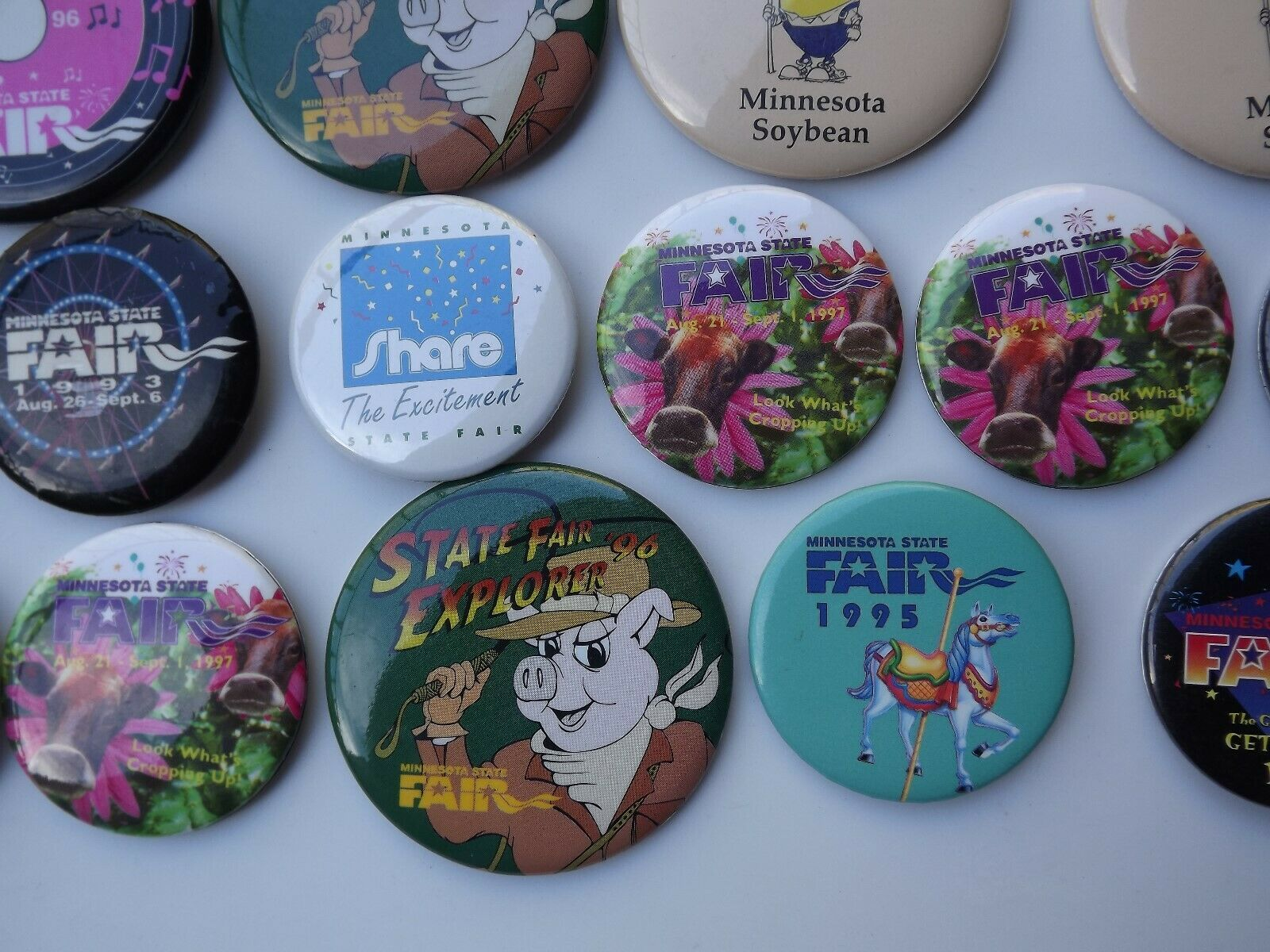 Large Lot of Minnesota State Fair Pinback Buttons Various Years image 4
