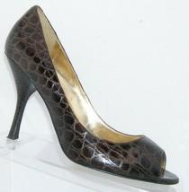 Enzo Angiolini 'Maylie' brown leather peep toe brown snake print heels 9... - $33.34
