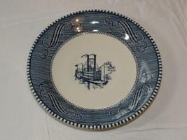 Vintage Currier & Ives Paddle Wheel Riverboat Blue White Saucer plate 6 ... - $19.05