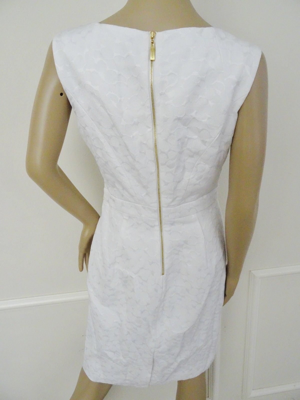 Nwt Ellen Tracy Jacquard Sheath Cocktail Party Dress Sz 8 White $118