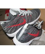 Nike Lunar Flyknit Chukka GREY RED sneakers shoes FOR MEN SIZE US 7 - 11  - $104.99