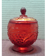 Vintage Indiana Glass Co. Red/Amberina Flashed Glass Sugar Bowl  - $15.00