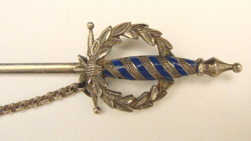 STERLING & ENAMEL  JABOT PIN - XL