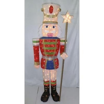 5 ft pre lit tinsel nutcracker soldier holiday outdoor for 4 foot nutcracker decoration