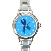 Ladies Round Italian Charm Bracelet Watch OVARIAN CANCER RIBBON 26756119 - $11.99