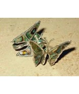 Vintage Sterling Silver and Abalone Butterfly Earrings Made  - $24.00